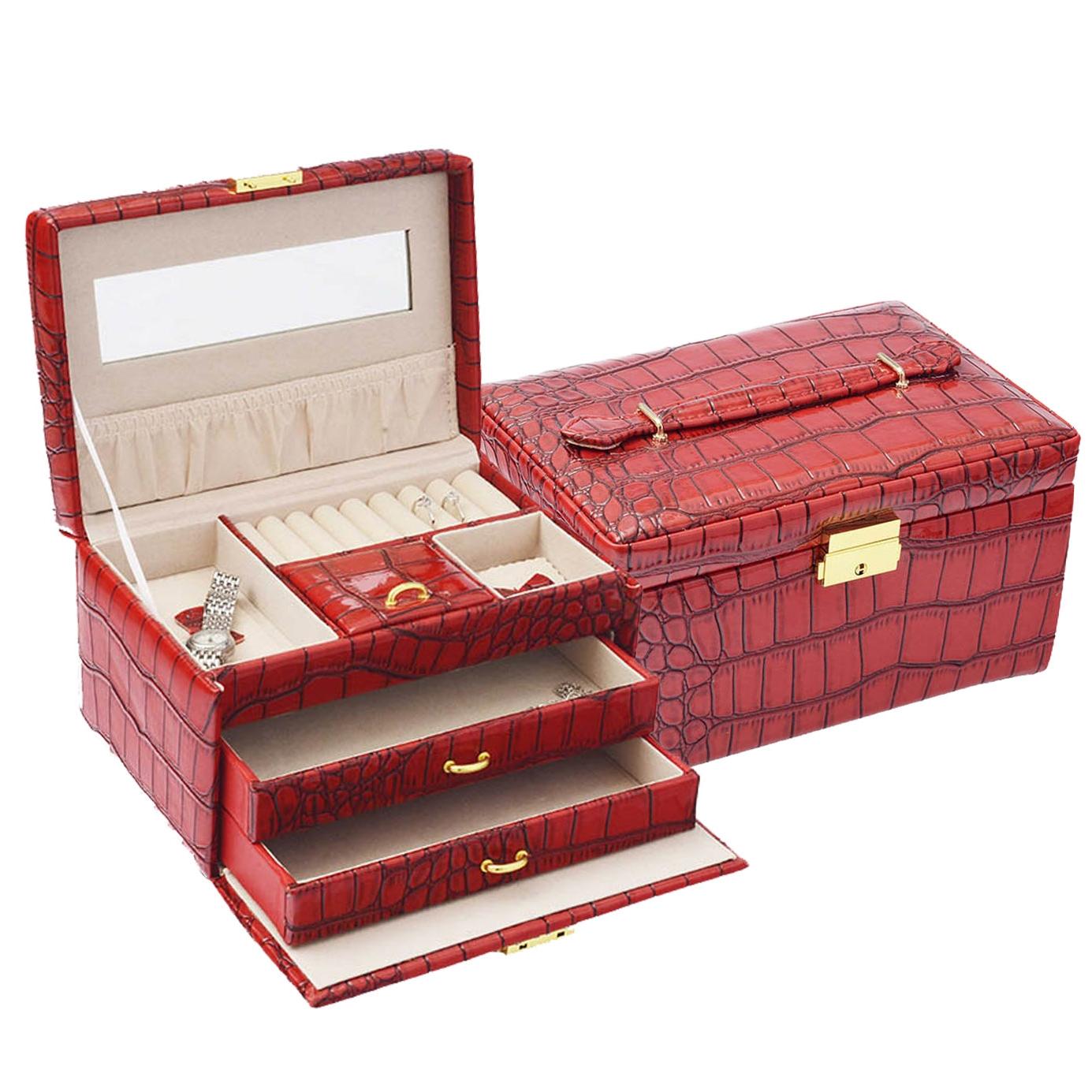 Šperkovnice - červená koženka SVK1026