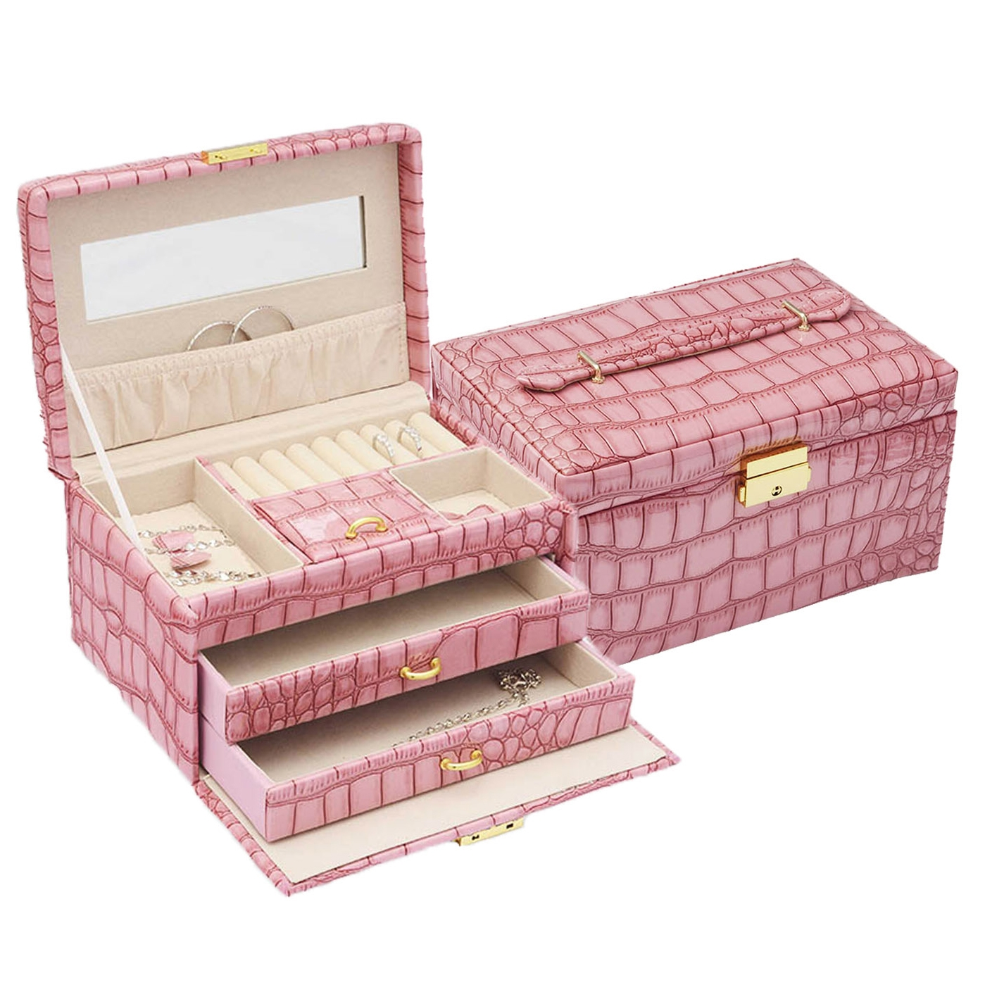 Šperkovnice - růžová koženka SVK1024