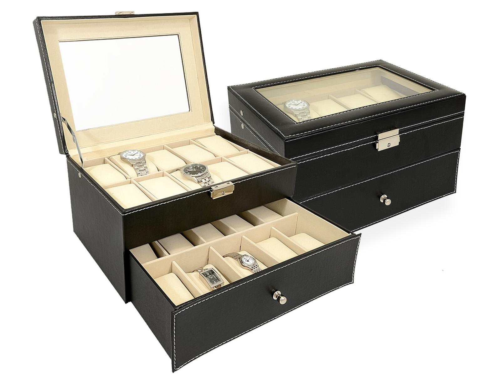 Šperkovnice na hodinky a náramky černá SVK1138
