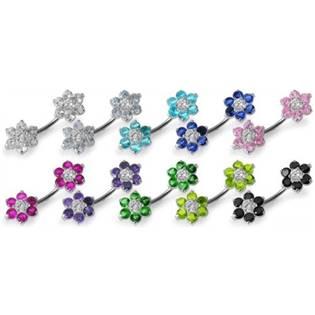 Šperky4U Stříbrný piercing do pupíku - kytičky - BP01108-F