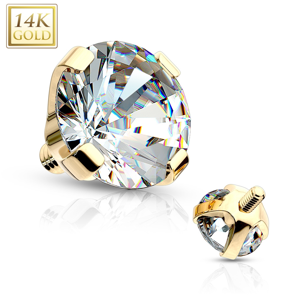 Zlatý piercing - dermál zirkon, Au 585/1000 ZL01050-04-YG