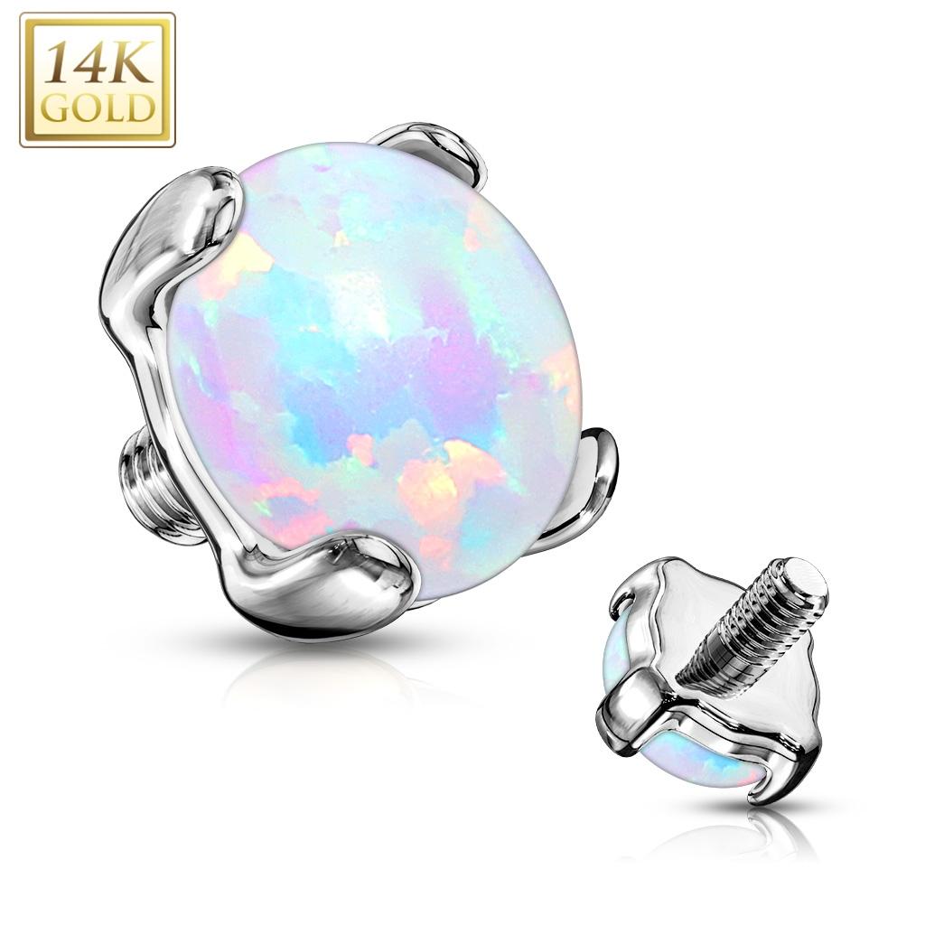 Zlatý piercing - dermál opál, Au 585/1000 ZL01051-04-WG