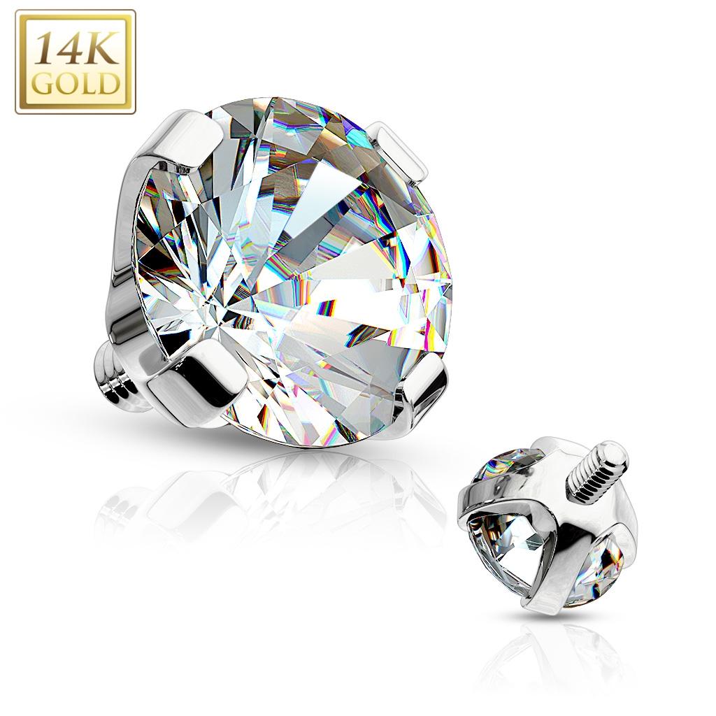 Zlatý piercing - dermál zirkon, Au 585/1000 ZL01050-04-WG