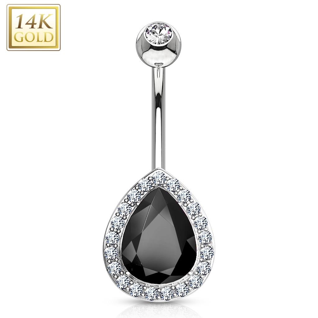 Zlatý piercing do pupíku kapka, Au 585/1000