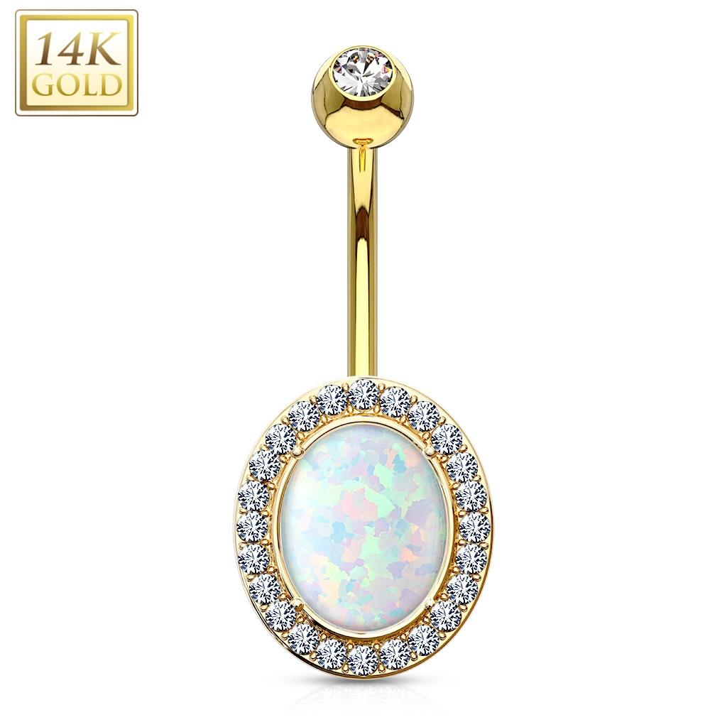 Zlatý piercing do pupíku s opálem a zirkony, Au 585/1000