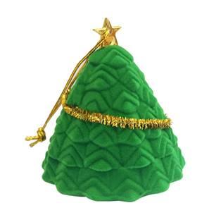 Vánoční semišová dárková krabička, stromek