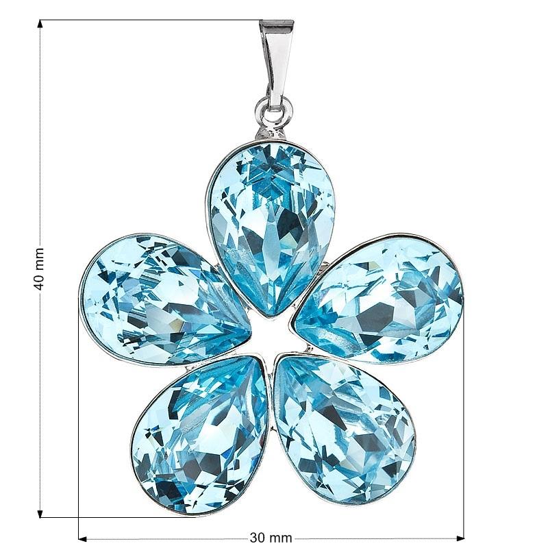 Přívěsek bižuterie se Swarovski krystaly kytička, Aqua