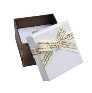 Dárková krabička na prsten s béžovou mašlí