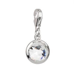 Stříbrný přívěsek s krystaly bílý kulatý