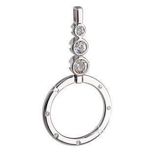 Stříbrný přívěsek s krystaly bílý kruh