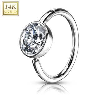 Zlatý piercing kruh, 0,8 x 8 mm, Au 585/1000