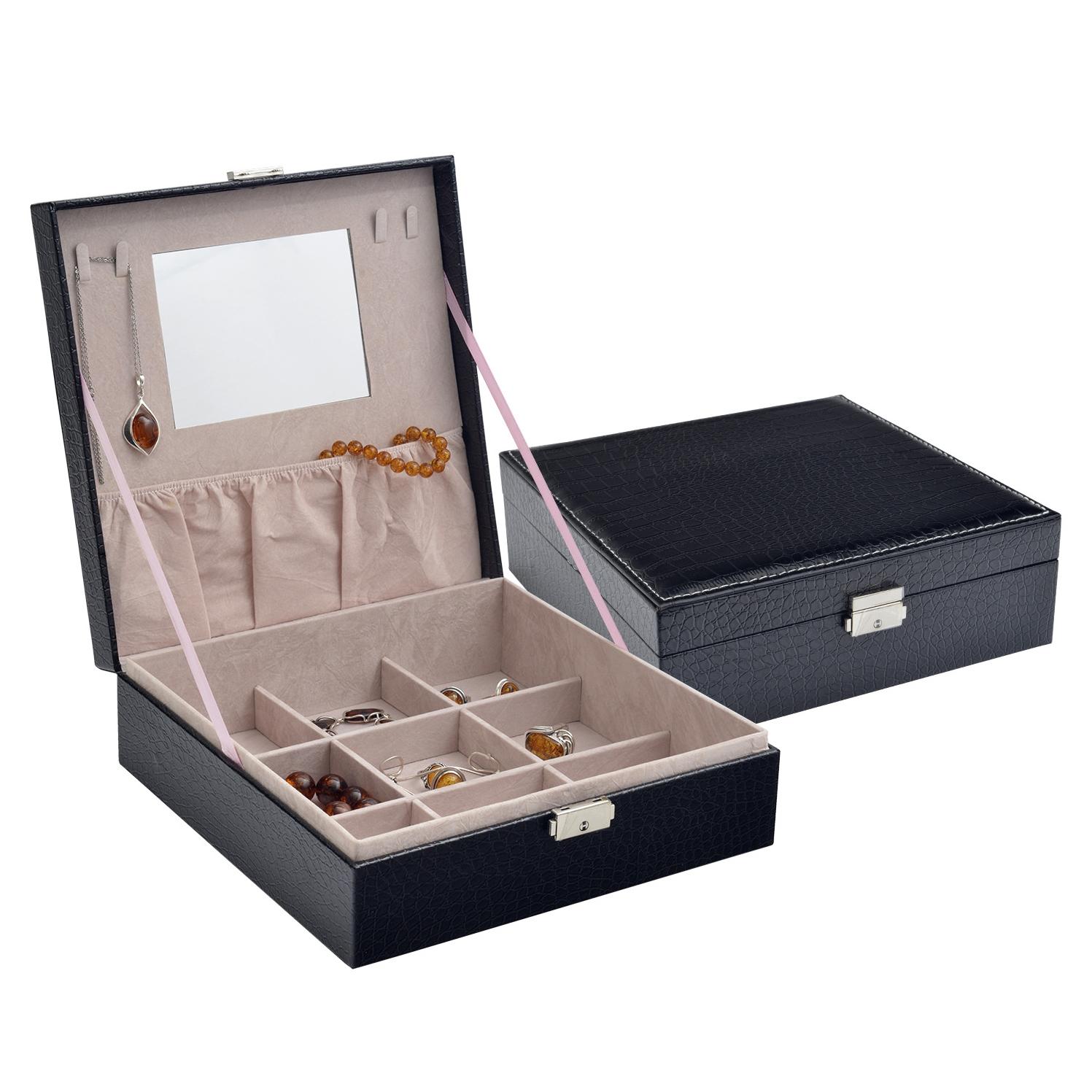 Černá koženková šperkovnice SVK1165-BK