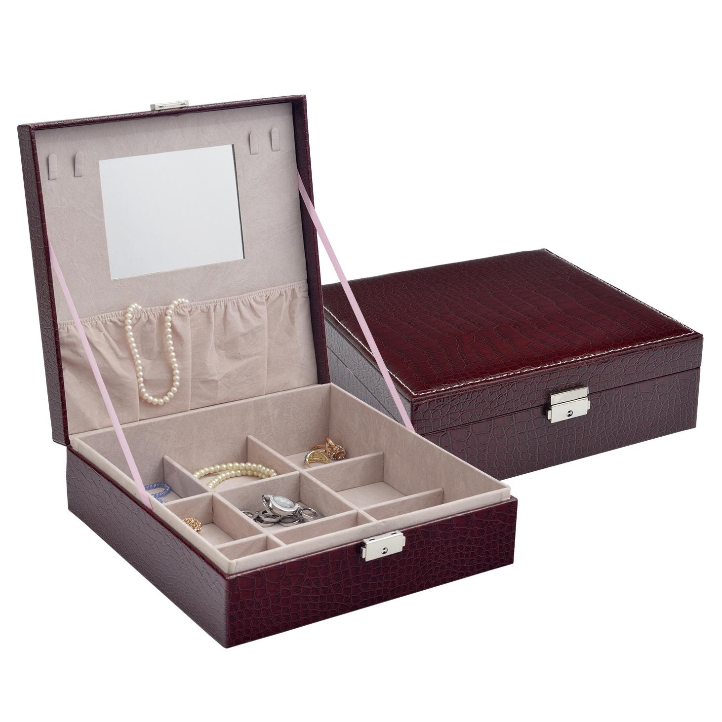 Bordó koženková šperkovnice SVK1165-BD