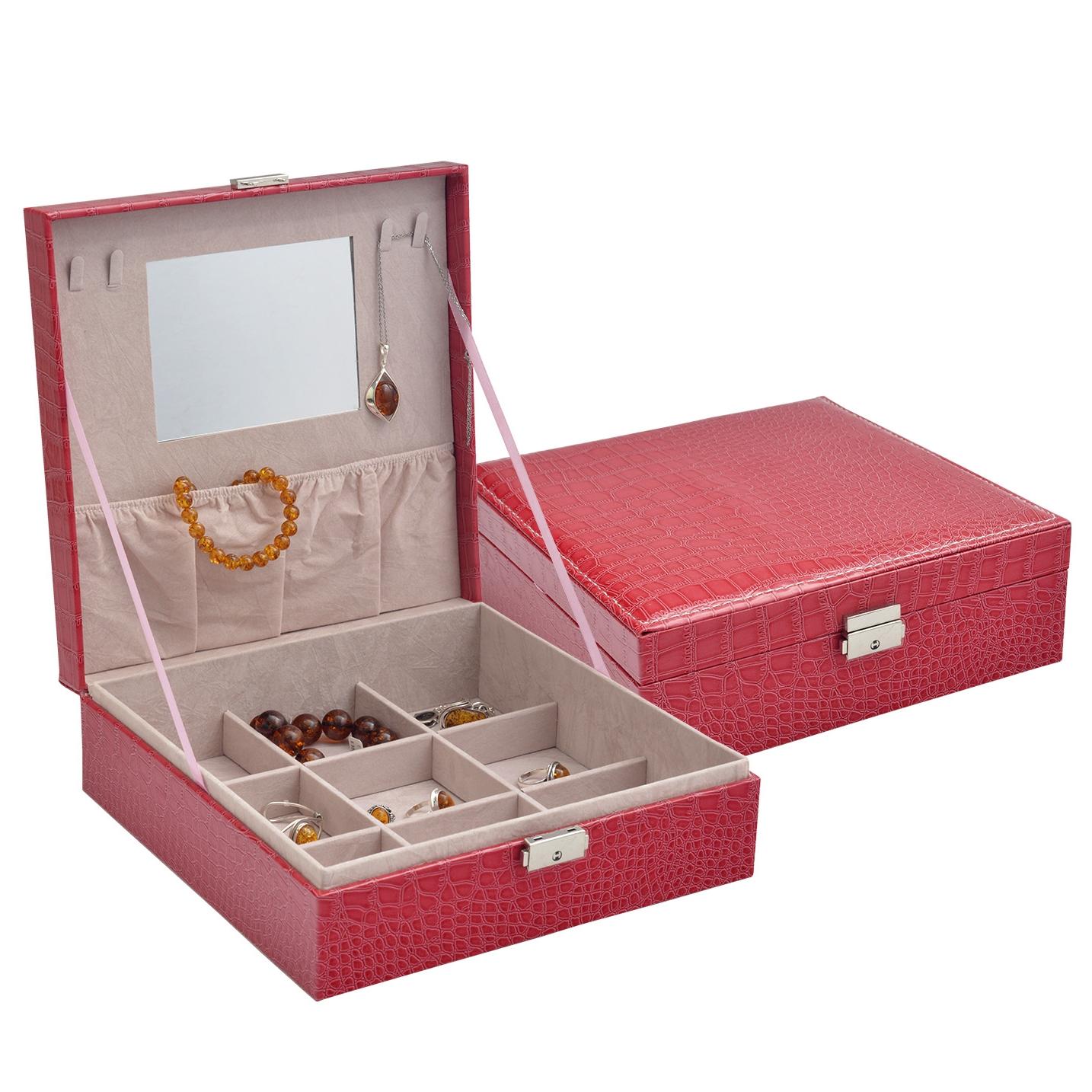 Červená koženková šperkovnice SVK1165-RD