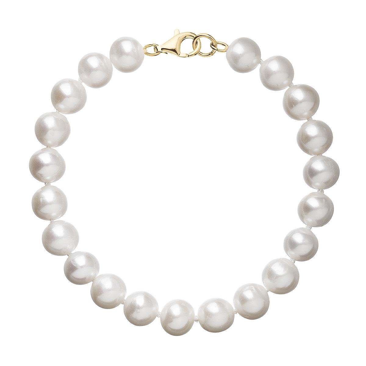 Perlový náramek bílý z pravých říčních perel se zlatým 14 karátovým zapínáním 923003.1 EGZ010-WH