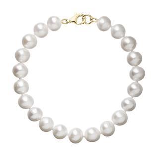 Perlový náramek bílý z pravých říčních perel se zlatým 14 karátovým zapínáním 923003.1