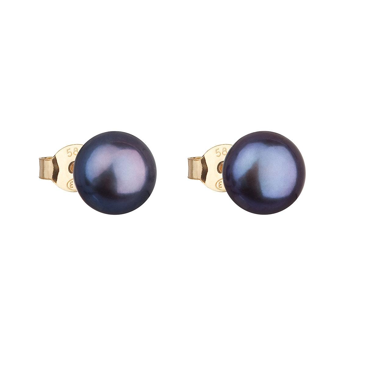Zlaté 14tich karátové náušnice s modrou riečnou perlou