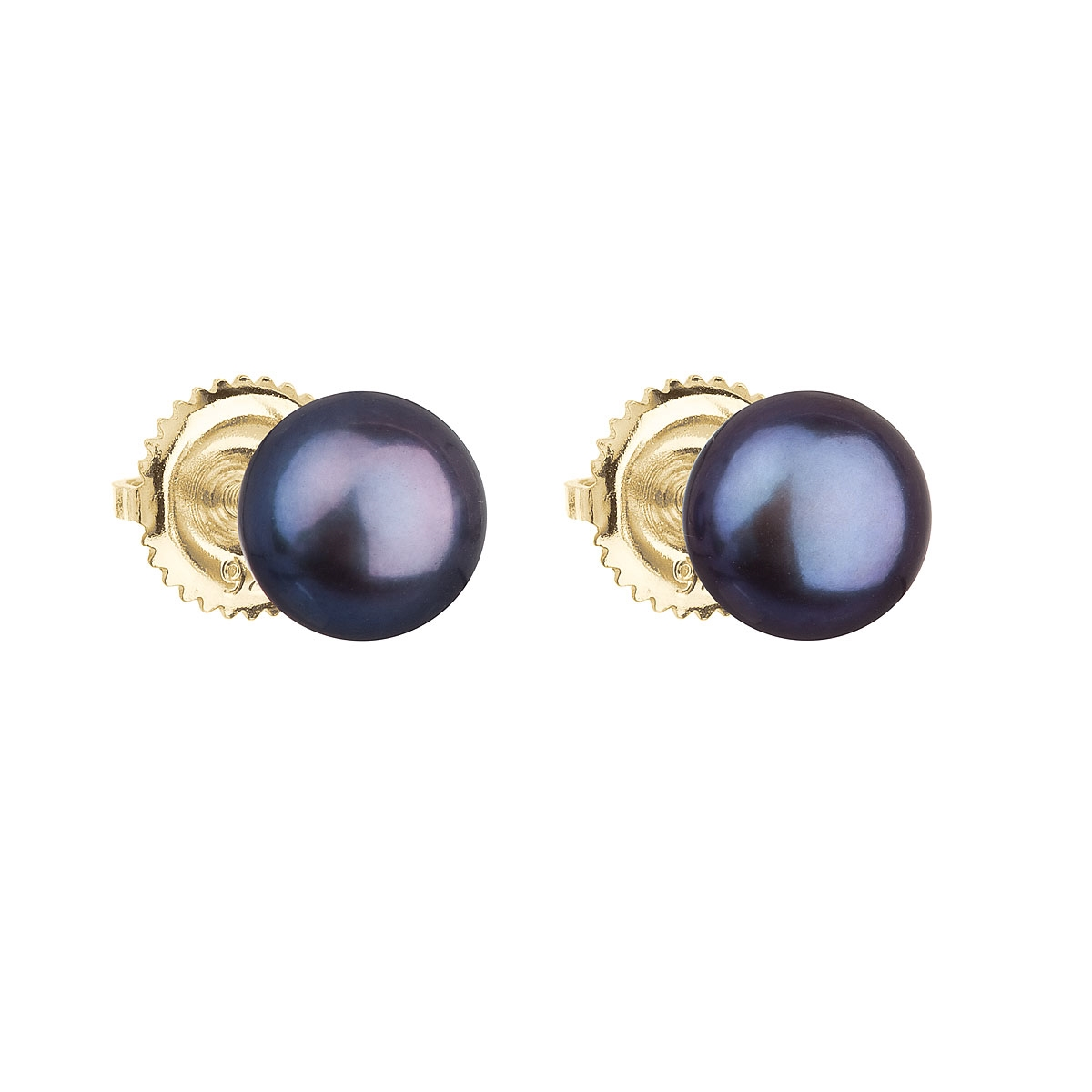 Zlaté 14ti karátové náušnice s modrou říční perlou EGZ004-DB