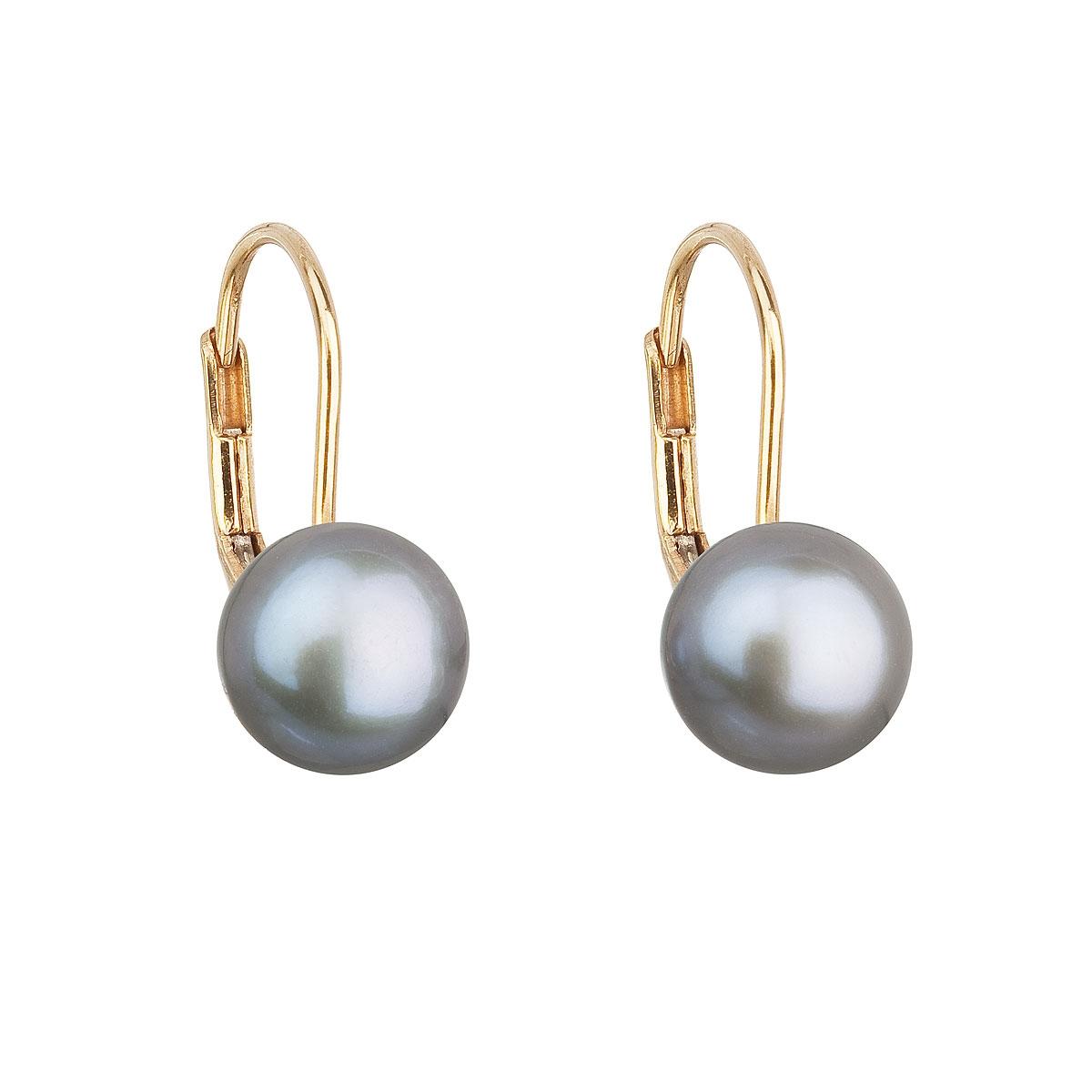 Zlaté 14tich karátové náušnice so šedou riečne perlou