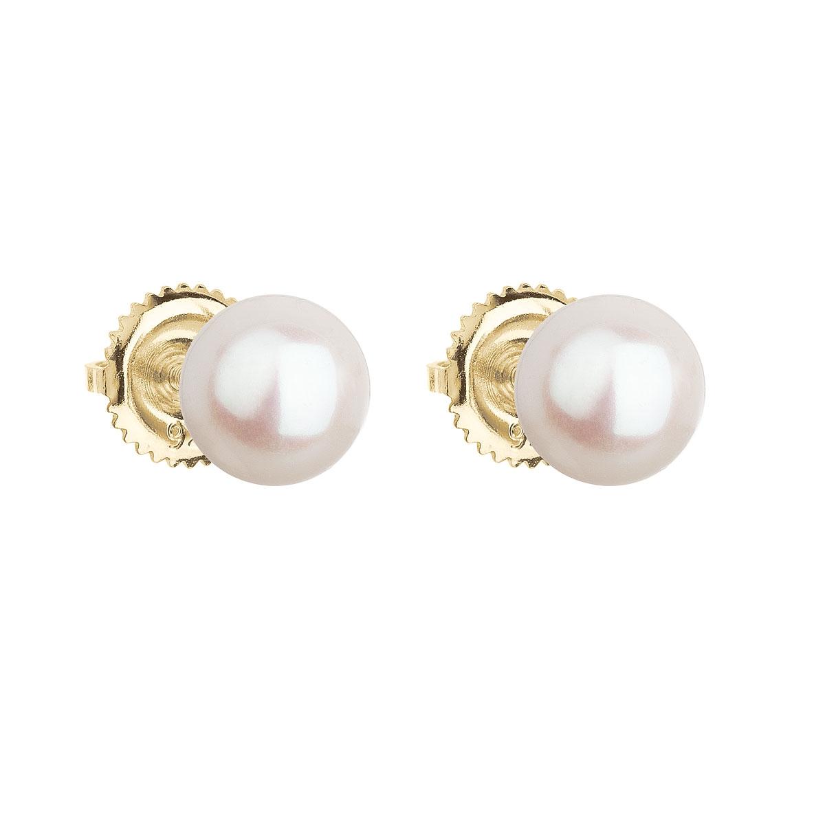 Zlaté 14ti karátové náušnice s bílou říční perlou EGZ004-WH