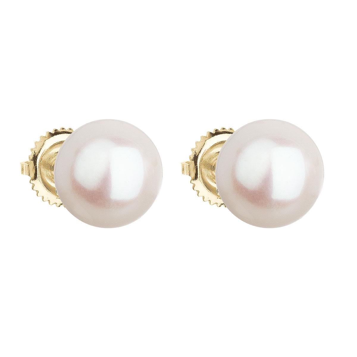 Zlaté 14tich karátové náušnice s bielou riečnou perlou