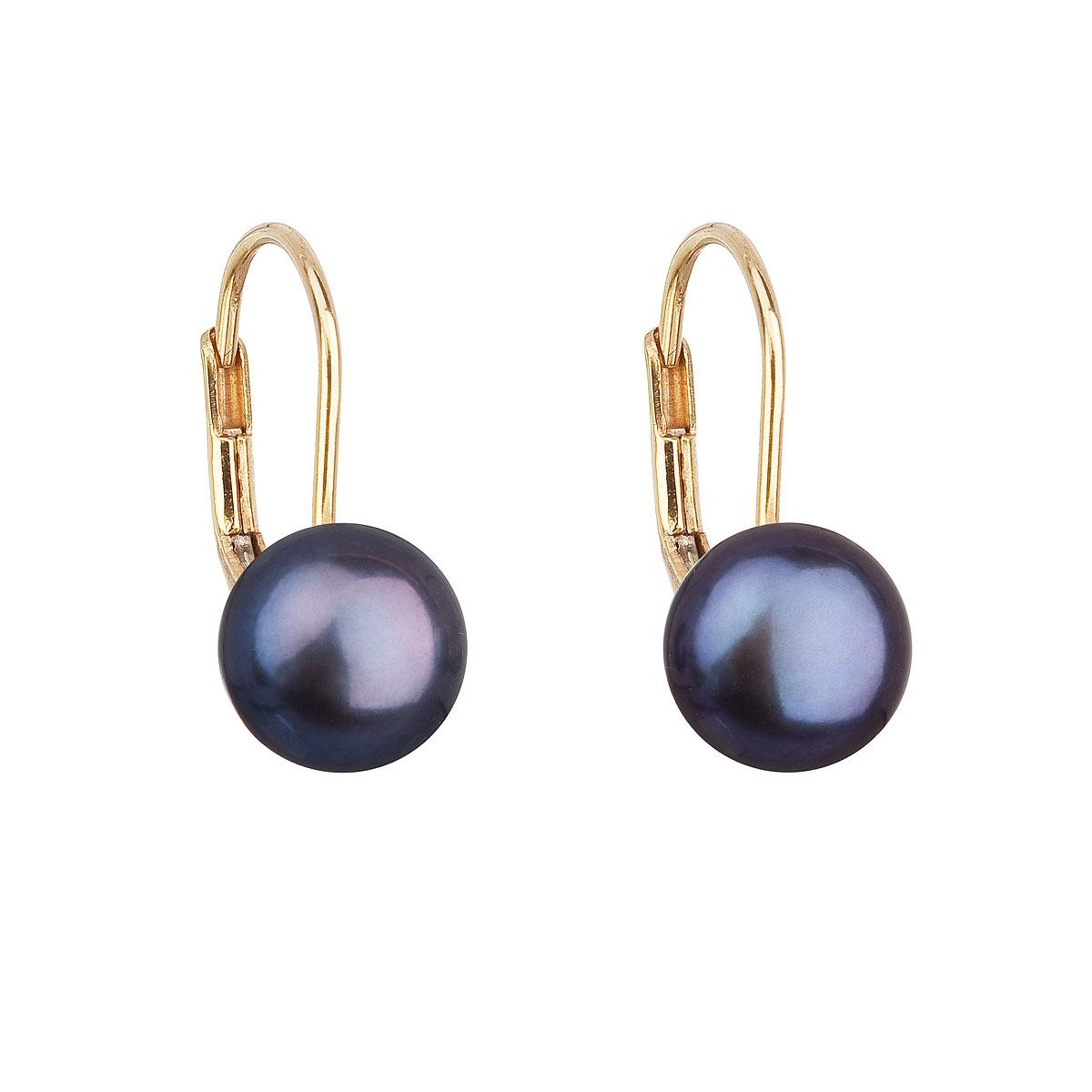 Zlaté 14ti karátové náušnice s modrou říční perlou EGZ002-DB