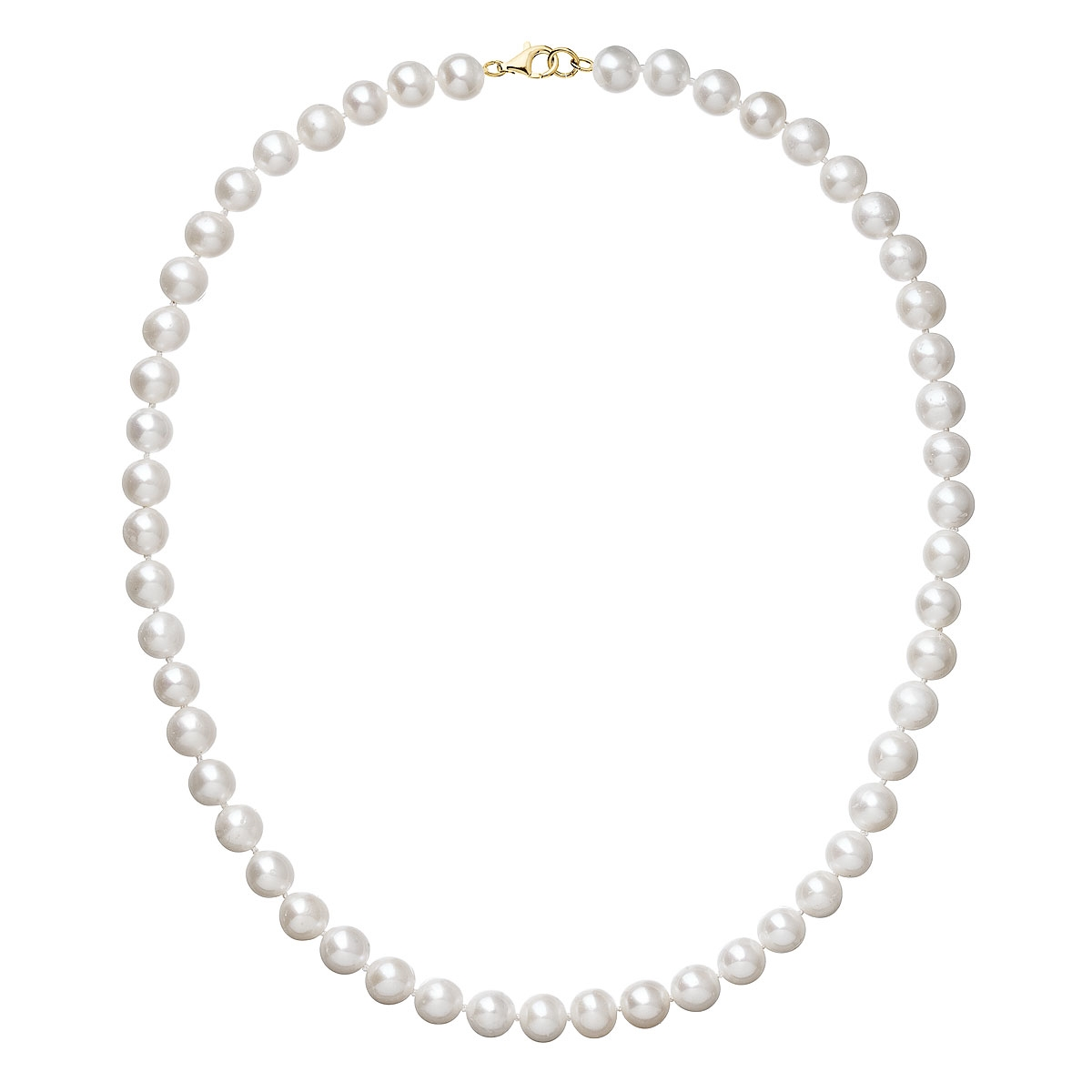 Perlový náhrdelník biely z pravých riečnych perál so zlatým 14 karátovým zapínaním