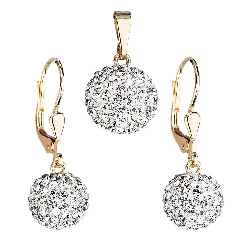 Zlatá 14 karátová sada šperků Crystals from Swarovski® Crystal