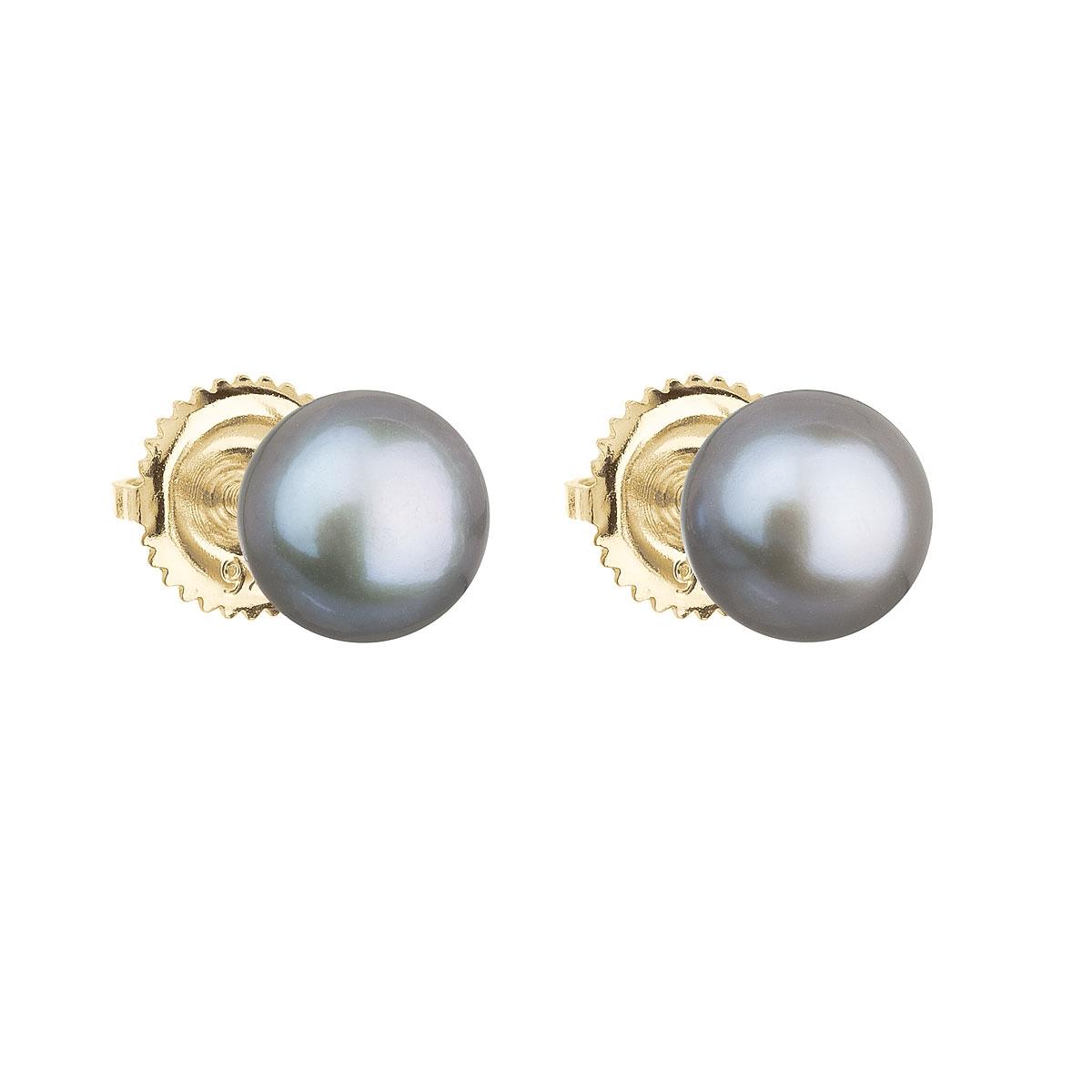 Zlaté 14ti karátové náušnice se šedou říční perlou EGZ004-GR