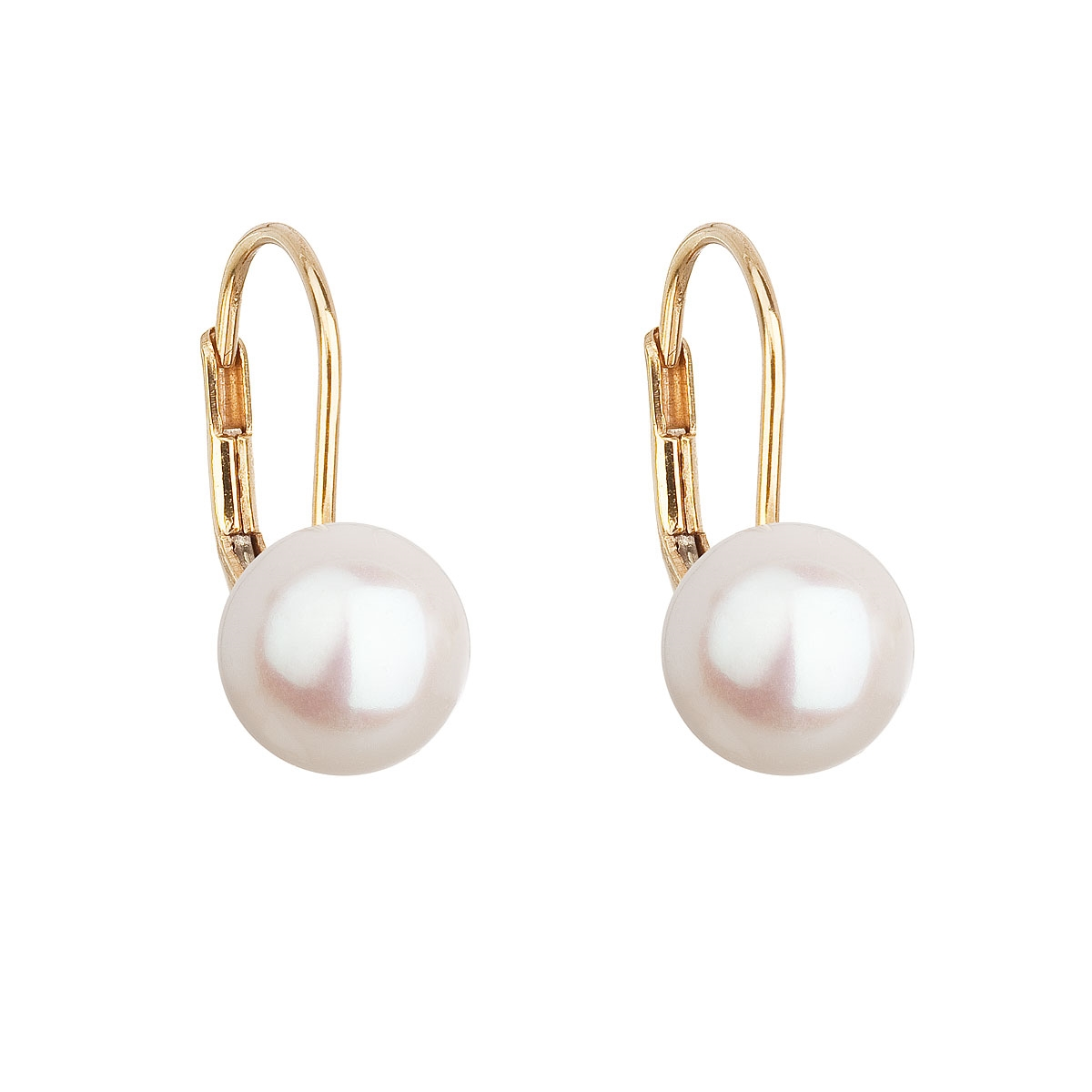 Zlaté 14ti karátové náušnice s bílou říční perlou EGZ002-WH