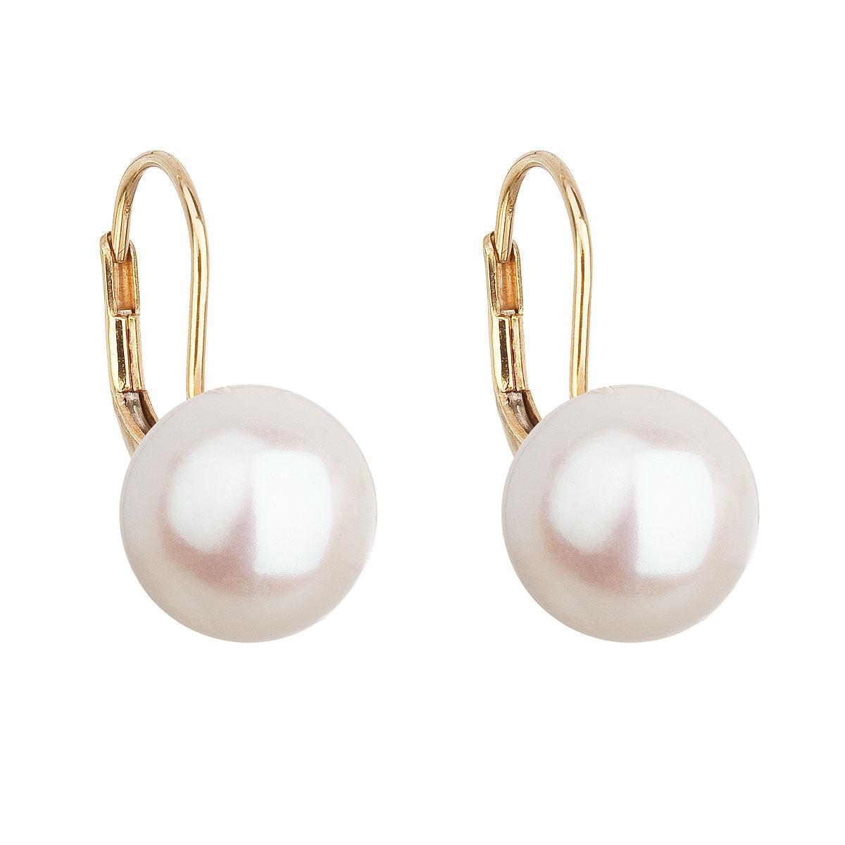 Zlaté 14ti karátové náušnice s bílou říční perlou EGZ001-WH
