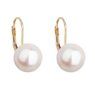 Zlaté 14ti karátové náušnice s bílou říční perlou