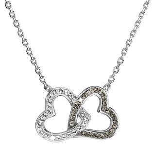Stříbrný náhrdelník s krystaly Crystals from Swarovski® Black Diamond