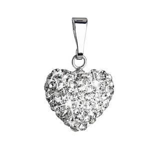 Stříbrný přívěsek s krystaly Swarovski bílé srdce