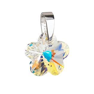 Stříbrný přívěsek s krystaly Swarovski AB efekt kytička