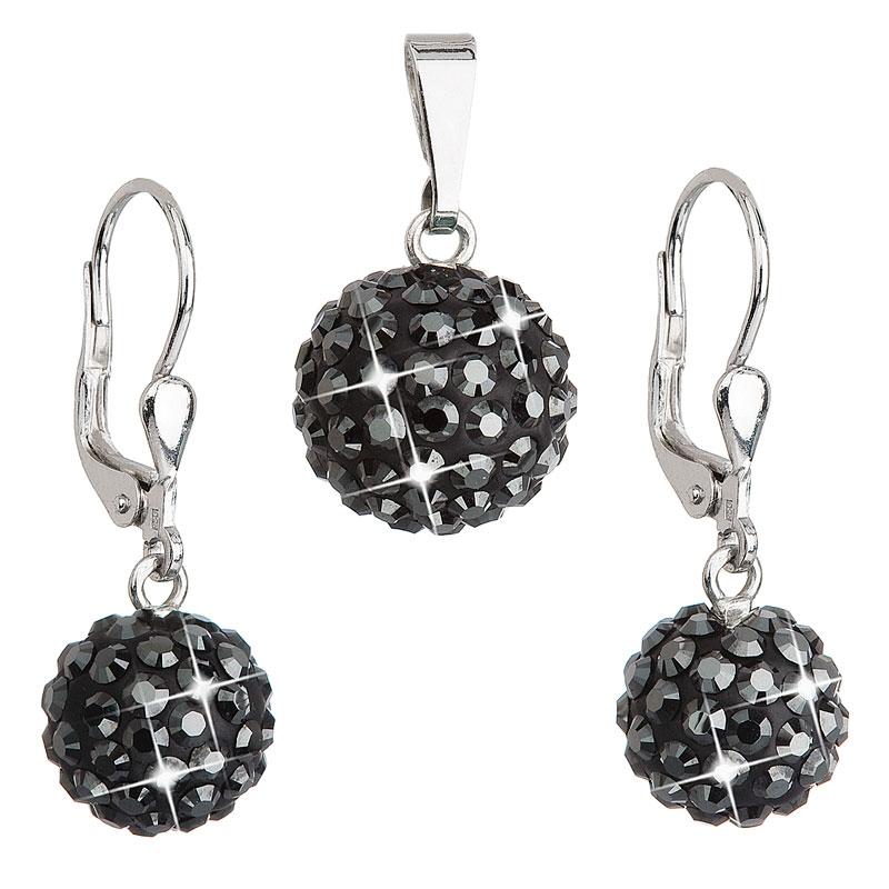Sada náušnic a přívěšku koule s kameny Crystals from Swarovski® Hematite EG3020-HM