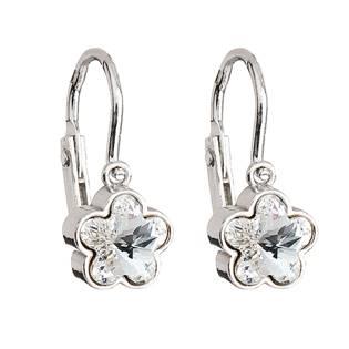 Dětské stříbrné náušnice - kytičky Crystals from Swarovski® Crystal