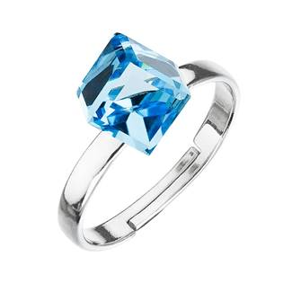 Stříbrný prsten s kostkou Crystals from Swarovski® Aquamarine
