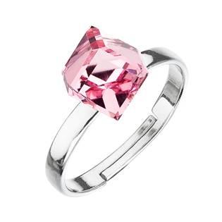 Stříbrný prsten s kostkou Crystals from Swarovski® Light Rose