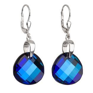 Stříbrné náušnice s krystaly Swarovski modré kulaté