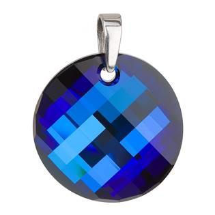 Stříbrný přívěsek s krystaly Swarovski modrý kulatý