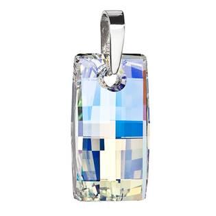 Stříbrný přívěsek s krystaly Swarovski AB efekt obdélník
