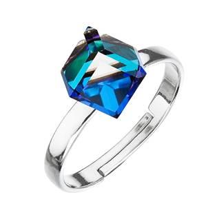 Stříbrný prsten s kostkou Crystals from Swarovski® Bermuda Blue