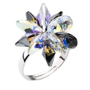 Stříbrný prsten s krystaly Crystals from Swarovski® Silver Night, AB