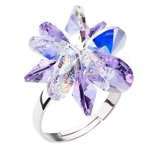 Stříbrný prsten s krystaly Crystals from Swarovski® Violet