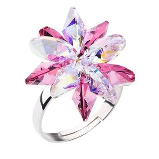 Stříbrný prsten s krystaly Crystals from Swarovski® Rose
