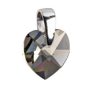 Stříbrný přívěšek srdce Crystals from Swarovski® Black Diamond