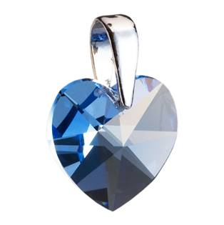 Stříbrný přívěšek srdce Crystals from Swarovski® Aquamarine 17 mm