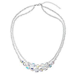 Stříbrný náhrdelník s krystaly Swarovski AB efekt kostička