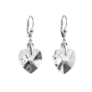Stříbrné náušnice s krystaly Swarovski bílé srdce